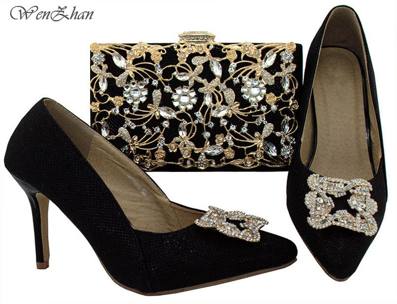 WENZHAN Italian Shoes And Bag Matching Set In Black Color Party Pumps,High Quality Charming African Shoe And Bag Sets B81-1