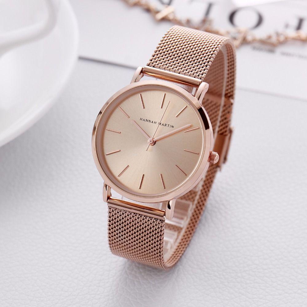 36mm HM Edelstahl Mesh-Armband Frauen Uhr Neue Stil Armband Uhr Luxus Rose Gold Wasserdicht Dame Uhr Geschenk für Liebhaber