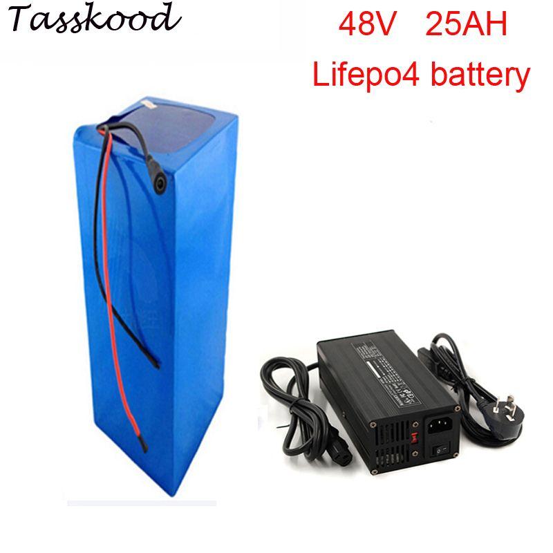 Keine steuern 2000 zyklen lifepo4 48v 1000w batterie pack mit lifepo4 48v 25ah batterie und 48v 25ah lifepo4 batterie pack + 5A ladegerät