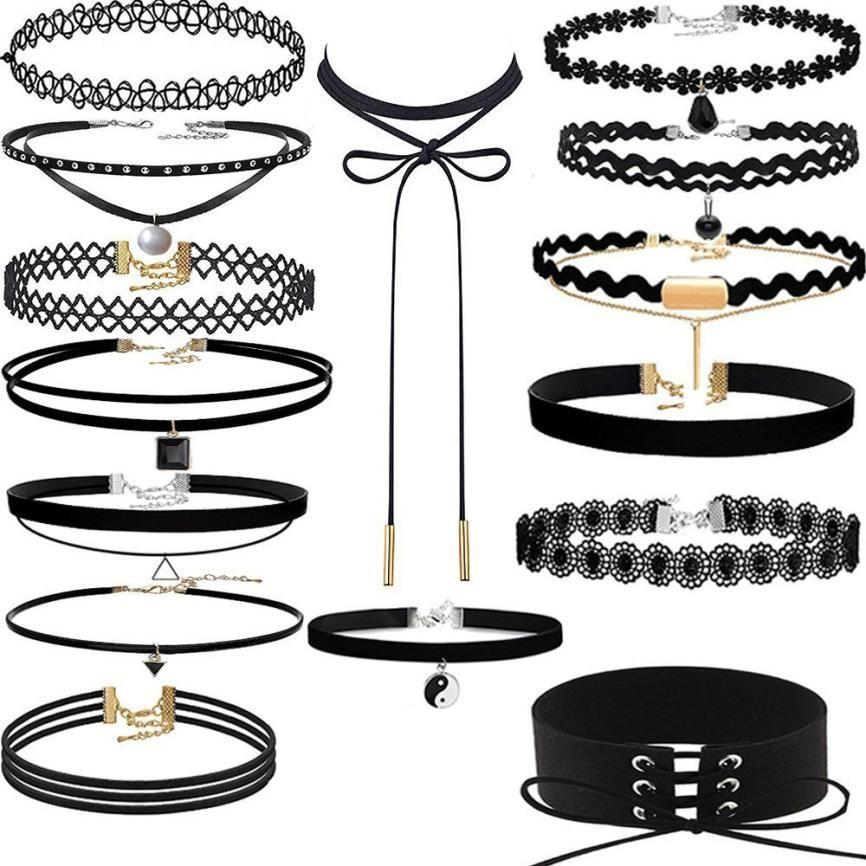 2017 New Arrival 15 Pieces Choker Necklace Set Stretch Velvet Punk Lace Choker Delicate