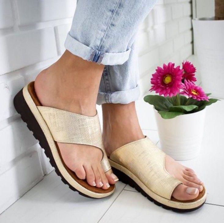 OLOMM 2019 Women Sandals PU Platform Flat Sole Ladies Casual Soft Big Toe Foot Correction Sandals Orthopedic Bunion Corrector