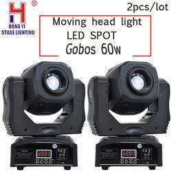 LED spot gobos moving head luz 60 w DMX512 pçs/lote 2 festa show de dj par iluminação de palco profissional