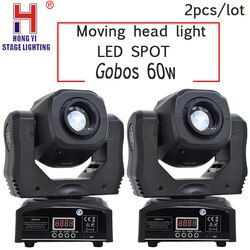 Led gobos 60w spot moving head lights DMX512 for professional dj par party show stage lighting 2pcs/lot