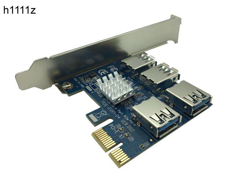 Pci-e для pci-e адаптер 1 оборот 4 слот PCI-Express 1x к 16x USB 3.0 добыча специальный Riser Card PCIe конвертер для BTC шахтер горнодобывающей