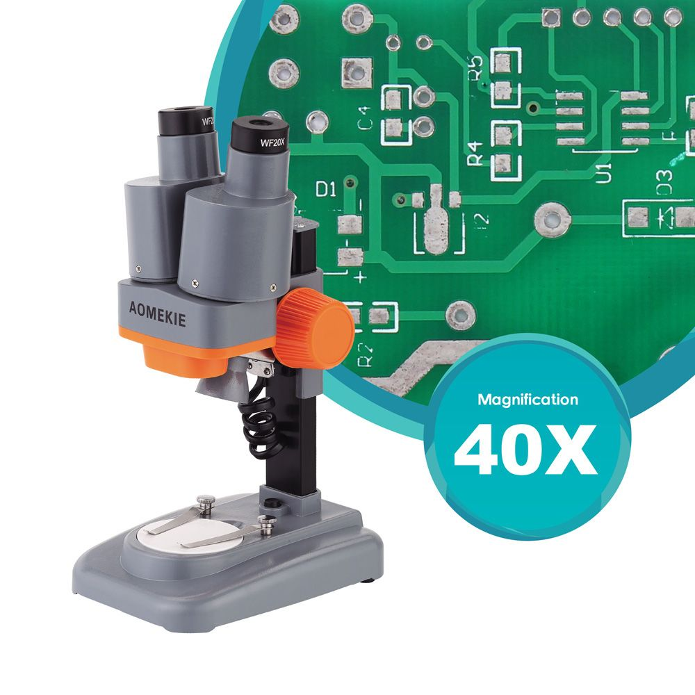 AOMEKIE 40X Binocular Stereo Microscope Top LED PCB Solder <font><b>Mineral</b></font> Specimen Watching Kids Science Education Phone Repair Tool