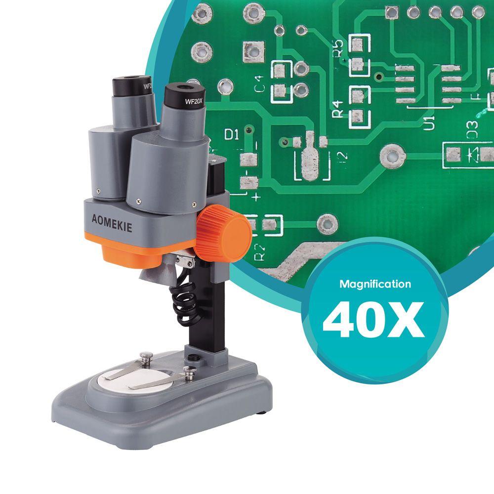 AOMEKIE 40X Binocular Stereo Microscope Top LED PCB Solder Mineral Specimen Watching Kids Science Education Phone Repair Tool