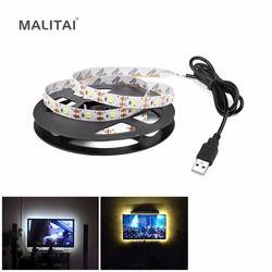 5 В USB мощность светодиодные полосы света RGB 2835 3528 SMD HD ТВ Настольный ПК экран подсветка и светильник 1 м 2 м 3 м 4 м 5 м не водонепроницаемый