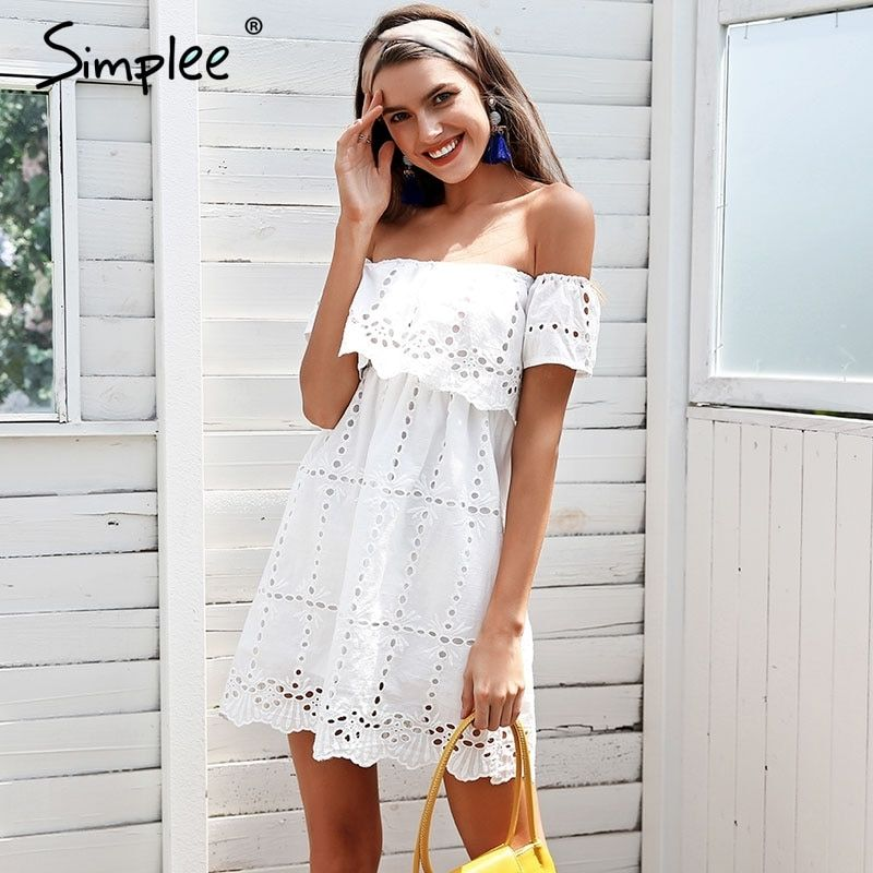 Simplee Off shoulder white lace dress women Hollow out streetwear casual dress Loose short summer dress female vestidos 2018