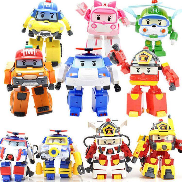 4 pièces/6 pièces Robocar corée Robot enfants jouets Transformation Anime figurine d'action Super ailes Poli jouets pour enfants Playmobil Juguetes