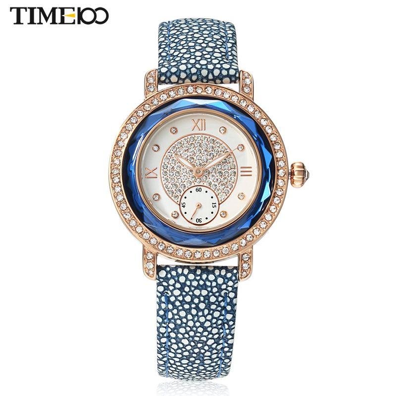 2016 TIME100 Модные часы Женщины Двойной Циферблат Кожаный Ремешок Дамы Наручные Часы со стразами Часы женские