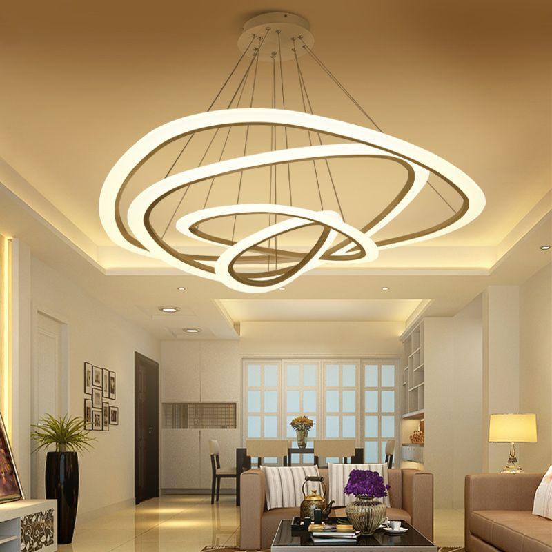 Neue Moderne anhänger lichter für wohnzimmer esszimmer 4/3/2 Kreis Ringe acryl LED anhänger lampe lampara decke Lampe leuchten
