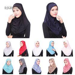 DJGRSTER Musulman Hijab Islamique Jersey Turban Femmes Noir Ninja Underscarf Caps Instantanée Tête Écharpe Pleine Couverture Intérieure Revêtements