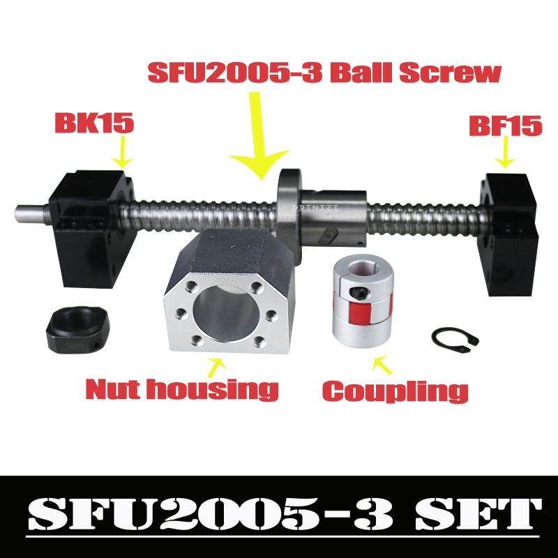 CNC Kugelumlaufspindel Set: 20mm Ball schraube SFU2005 Ende Bearbeitet + RM2005 Ball Mutter + BK15 BF15 Ende Unterstützung + koppler 6,35 x 12mm für 2005
