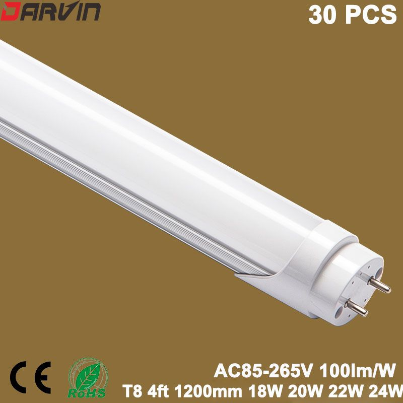 T8 4ft Led Tube 1200mm 18W 20W 22W 24W Tube Led fluorescent Lampe 110v 220v G13 bouchon 120cm Longueur SMD2835