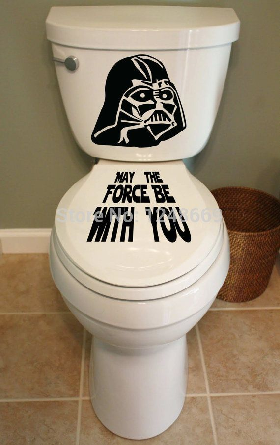 Peut la Force être avec Yo toilette décalcomanie salle de bains toilette amovible étanche closestool et autocollants en verre pour la décoration de la maison et Tolite