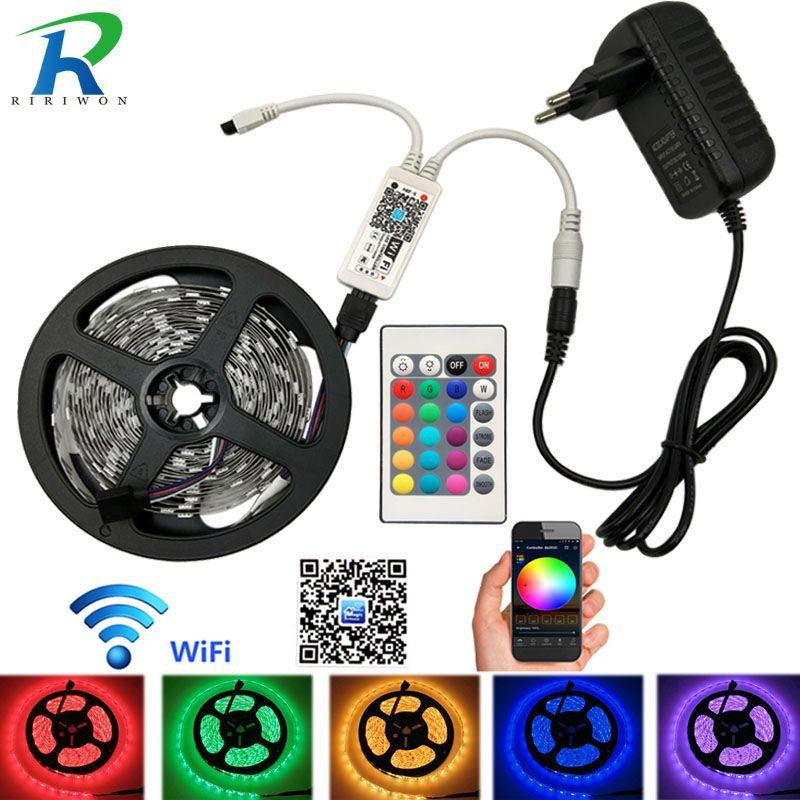 Wifi 5M 10M 15M RGB LED Strip SMD5050 Led Light Waterproof Tape DC12V LED Strip Flexible Fita Neon Ribbon tape with Wifi control