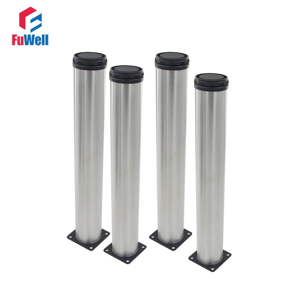 4pcs 400mm Length Furniture Legs Adjustable 15mm Silver Tone Stainless Steel Table Bed Sofa Leveling Foot Cabinet Legs