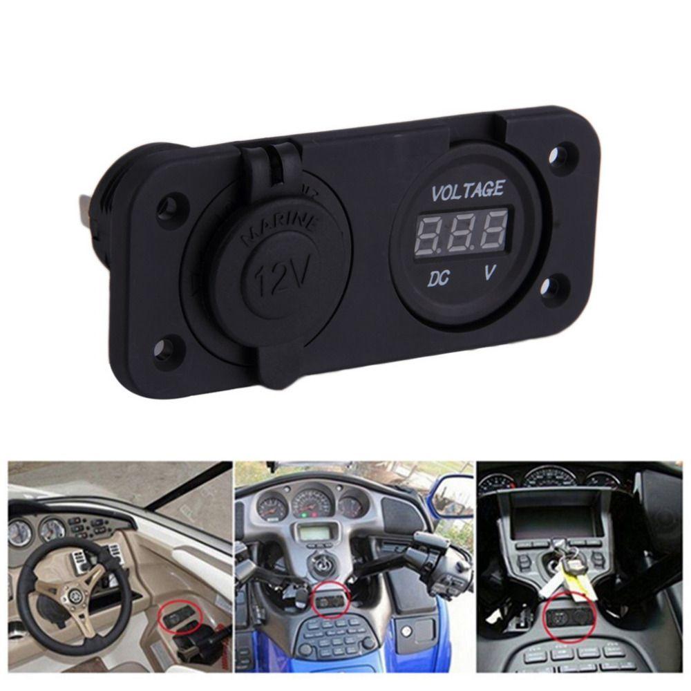High Quality 2 in 1 Waterproof 12V Car Cigarette Lighter Socket Power Panel Voltmeter For Camper Caravan Marine