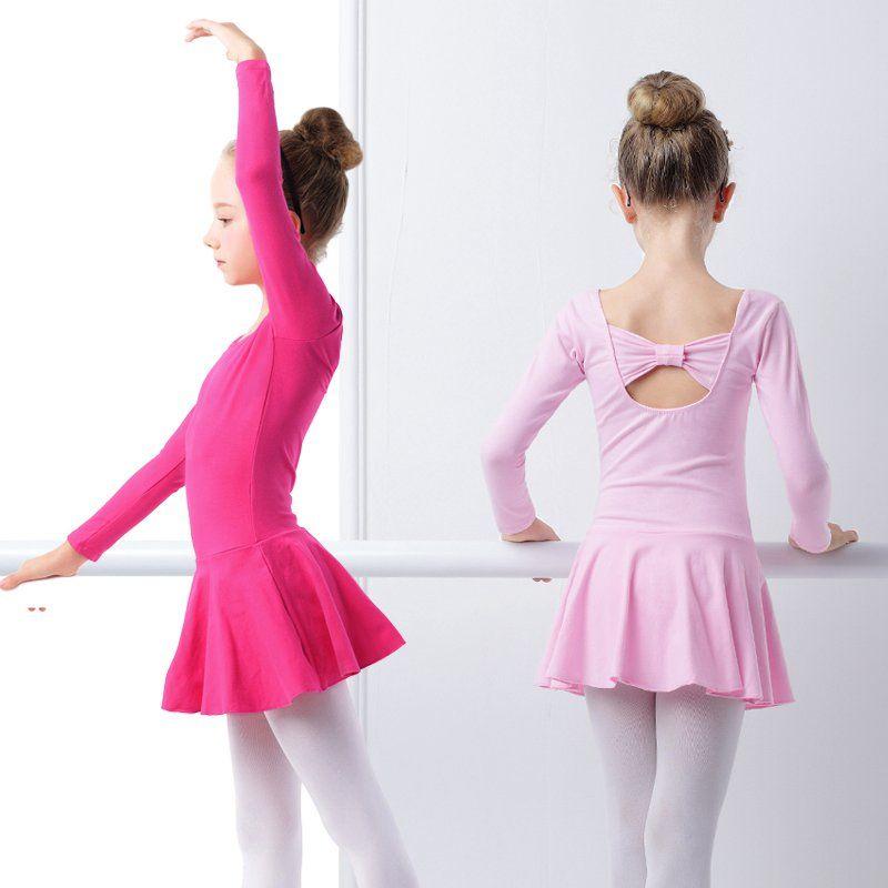 Дети с длинным рукавом балетное платье Обувь для девочек Дети прекрасный розовый хлопок бабочка галстук Гимнастика купальник платье