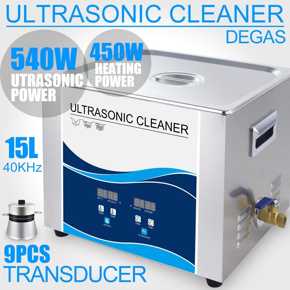 15L Ultraschall Reiniger Bad 540 watt 40 khz 110 v/220 v Degas Heizung Labor Optische Instrumente Schrauben Mutter dental Werkzeug Hardware Lager