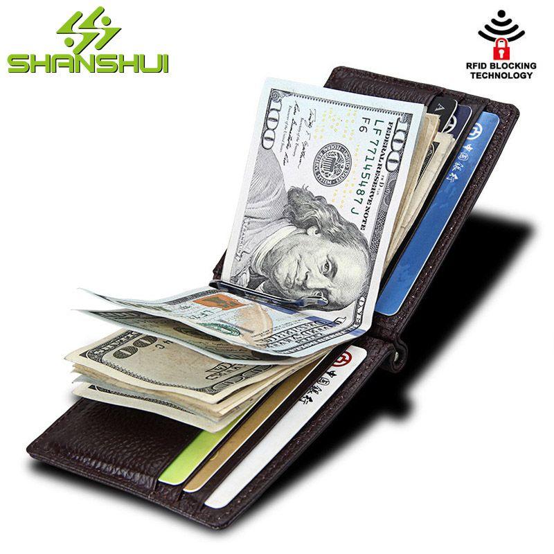 Männlichen RFID Sperrung Echtem Leder Geld Clip Metall Brieftasche Frauen Reisen Business Kleine Mini Brieftaschen für Männer Geldbörsen Geld Halter