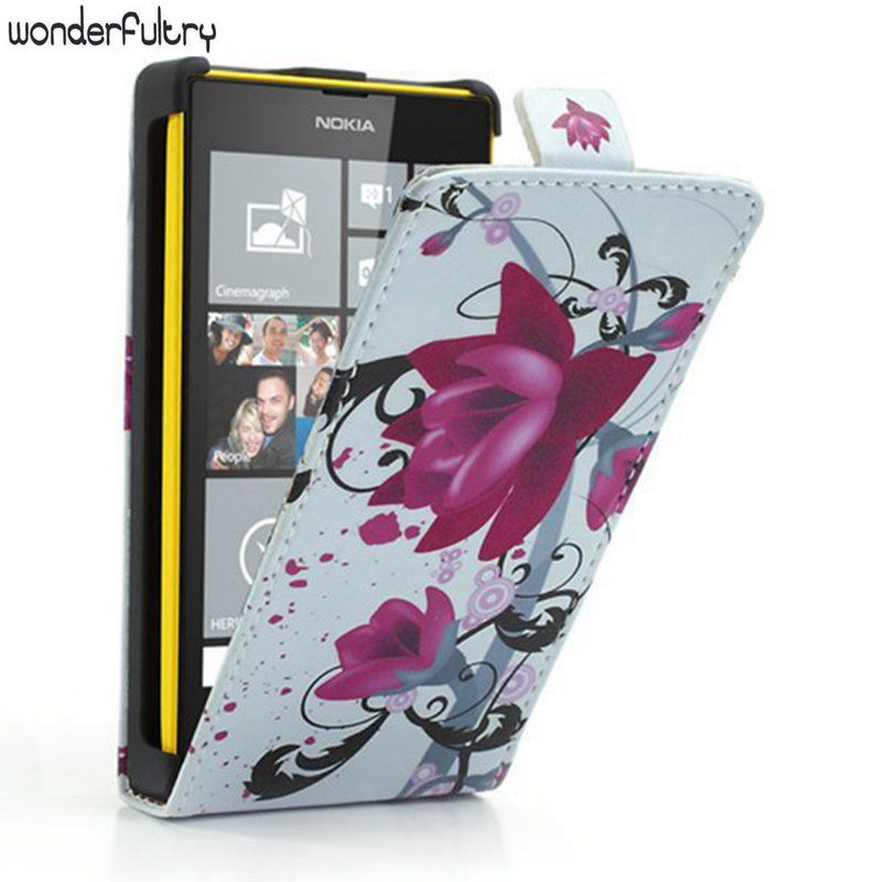 Wonderfultry Case Capa For Nokia 520 Vertical Elegant Lotus PU Leather Cover Coque for Nokia Lumia 520 525 With phone Cases 037