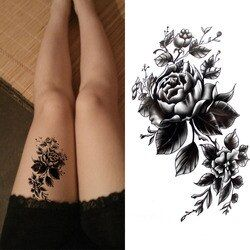 Flor grande negro temporales impermeables del arte de cuerpo Sexy muslo tatuajes rose para mujer tatuaje pegatinas 10*20 cm KD1050