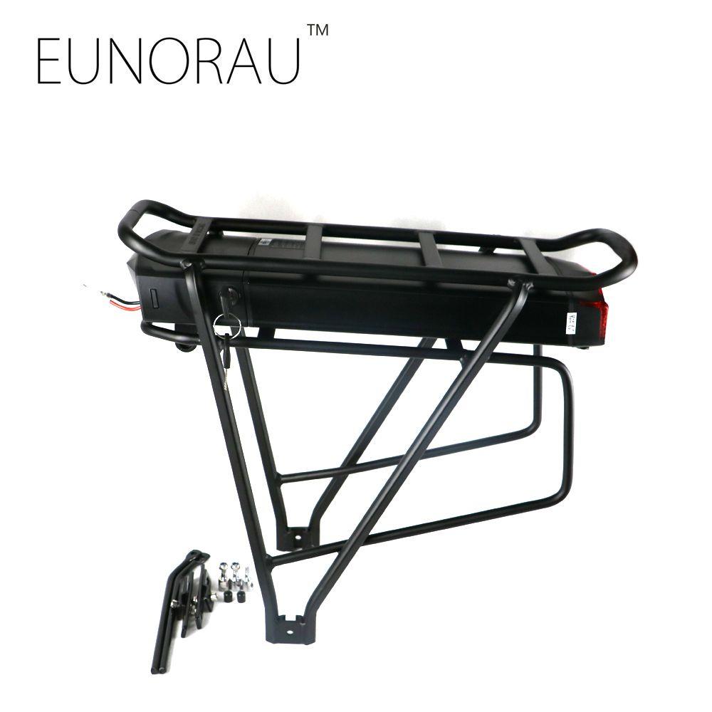 Kostenloser versand Elektrische fahrrad batterie 48V14Ah 1203 schwarz hinten rack batterie für elektrische fahrrad
