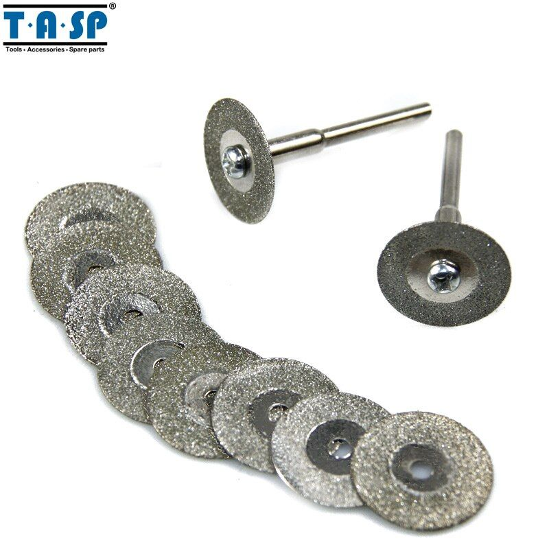 TASP 10PC 20mm Diamond Cutting Disc Wheel Set For Rotary Tool with 3.2mm Shank