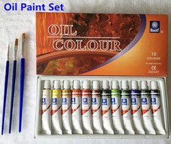 Merek Profesional Cat Minyak Kanvas Pigmen Seni Cat Setiap Tabung Gambar 12 Ml 24 Warna Set Gratis untuk Sikat