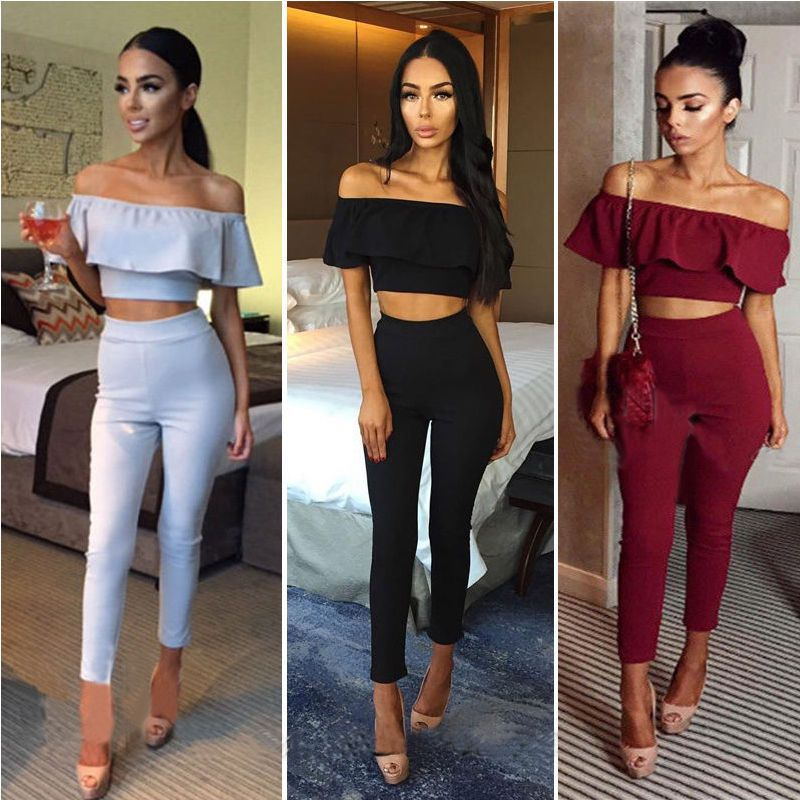 2017 New Sexy Women Ladies Summer Off shoulder Cape Collar Crop Tops Long Pant Legging 2PCS Club Wear Party Clothes
