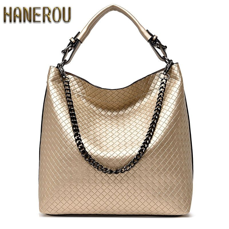 2018Chain Bucket Women Bag New Fashion PU Leather Women Shoulder Bag Big Luxury Brand Ladies Hand bags Large Tote Bag Sac A Main