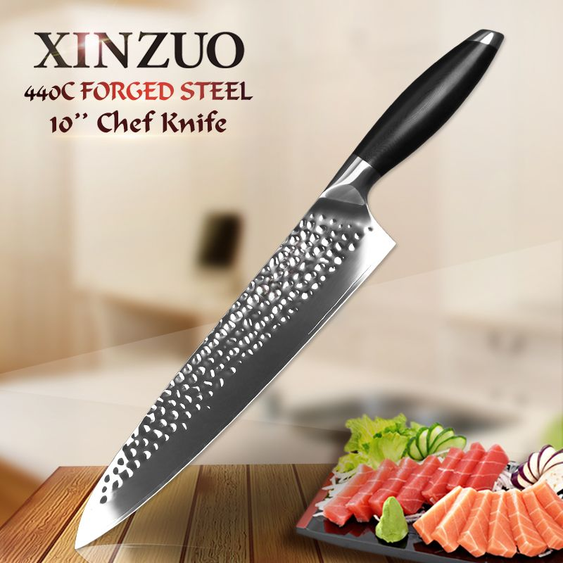 XINZUO 10'' inch chef knife 440C core clad steel chef knife for kitchen knife G10 handle Japanese santoku knife clever cutter