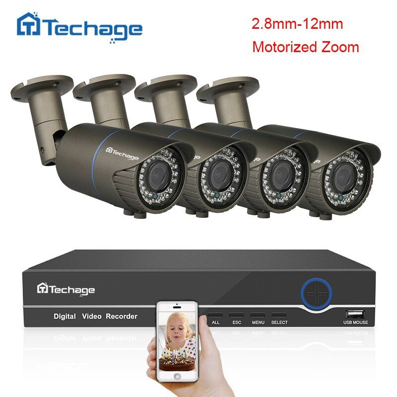 Techage 8CH 1080P HDMI POE NVR Kit 2.8~12mm VF Motorized Zoom Auto Lens 2.0MP IP Camera P2P Onvif Outdoor Security CCTV System
