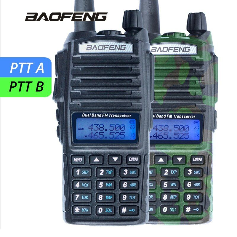 Baofeng UV-82 <font><b>Walkie</b></font> Talkie UV 82 Two-way Portable Radio Dual PTT CB Radio Station VHF UHF Transceiver UV82 Hunting Ham Radios