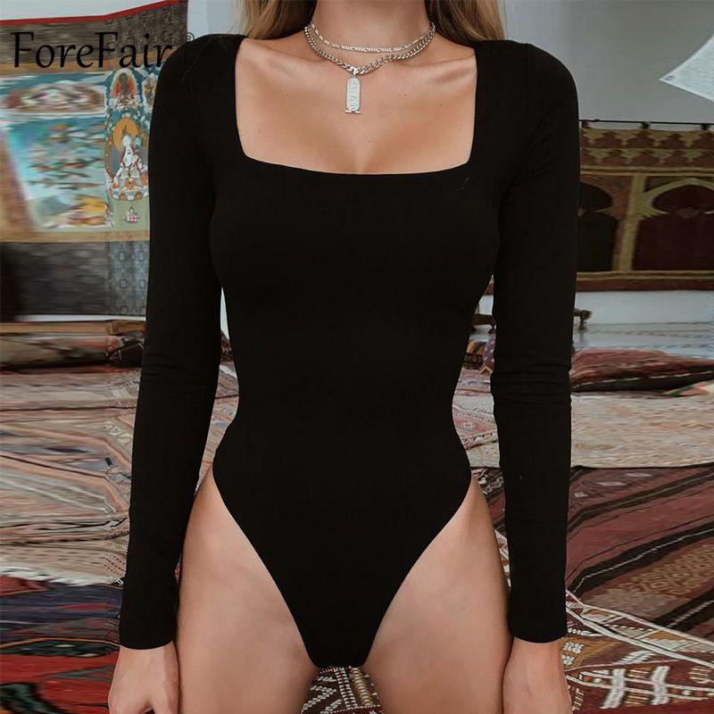 Forefair Sexy moulante Body manches longues col carré gaine entrejambe ouverte basique blanc noir rouge salopette femmes Body haut