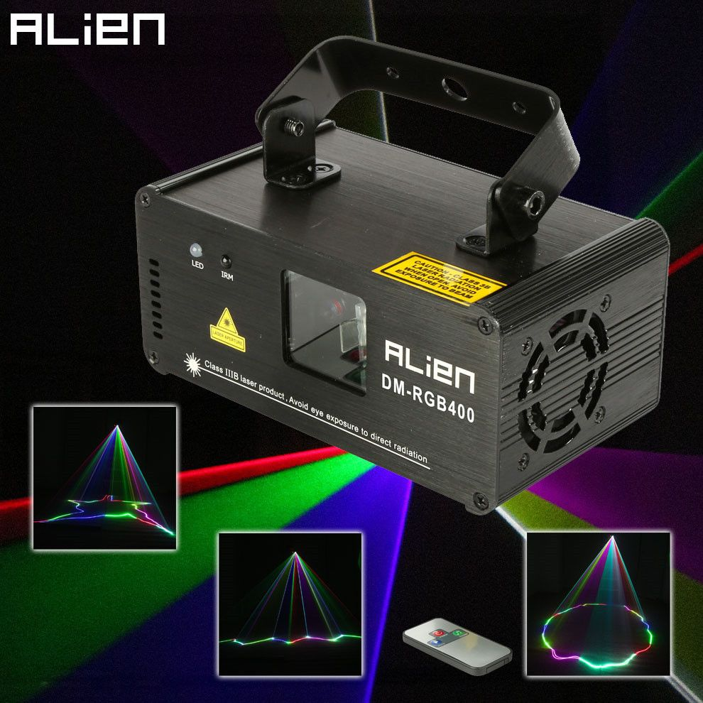 ALIEN Remote RGB 400mw DMX512 Laser Line Scanner Stage Lighting <font><b>Effect</b></font> Projector Light DJ Dance Bar Xmas Party Disco Show Lights