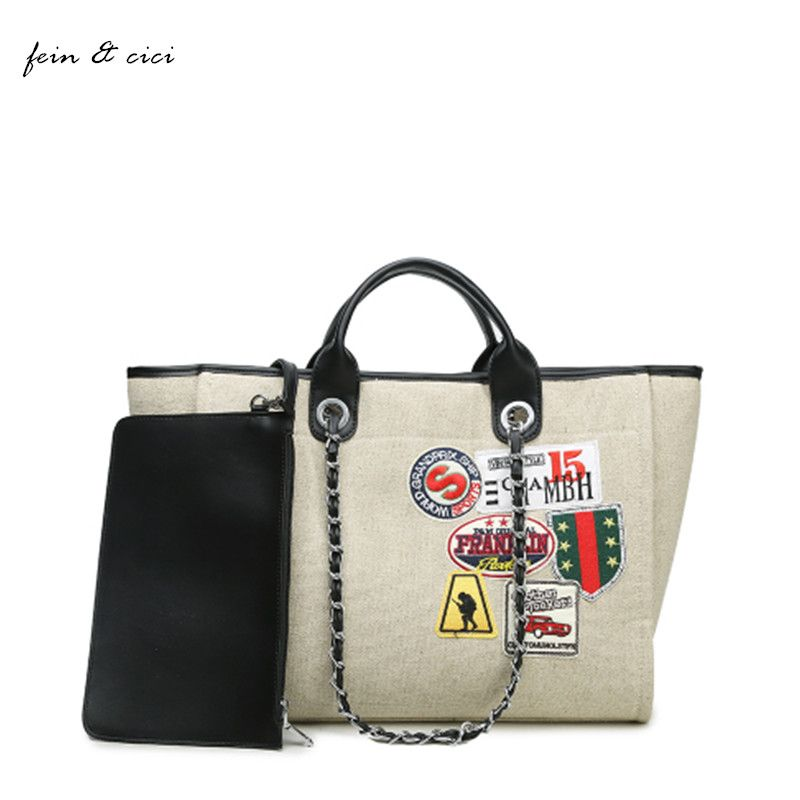 Bolsas de lona bolsa de playa bolsa de Jumbo bolsa de compras de gran capacidad grande bolsa de cadenas de marca verano 2017 bao bao alta calidad de las mujeres