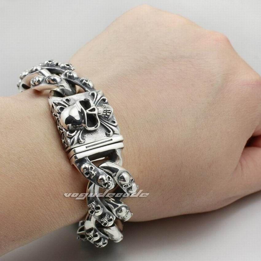 Huge & Heavy Solid 925 Sterling Silver Skulls Mens Biker Bracelet 8H012