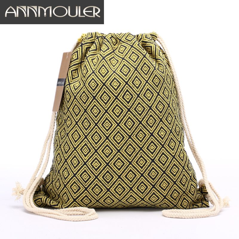 Women Backpack Bohemian Style Shoulder Bag Vintage Rucksack Gypsy Chic Hobo Bag Hippie Aztec Tribal Bag Drawstring Backpacks