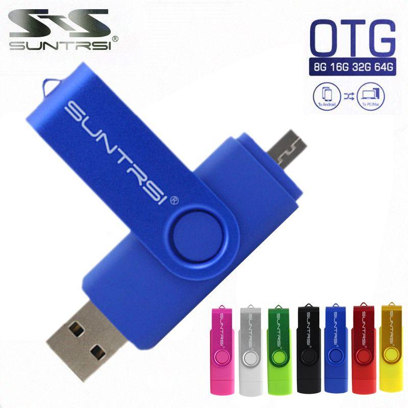 Suntrsi Smart Phone USB Flash Drive Metal Pen Drive 64gb pendrive 8gb OTG external storage micro usb memory stick Flash Drive