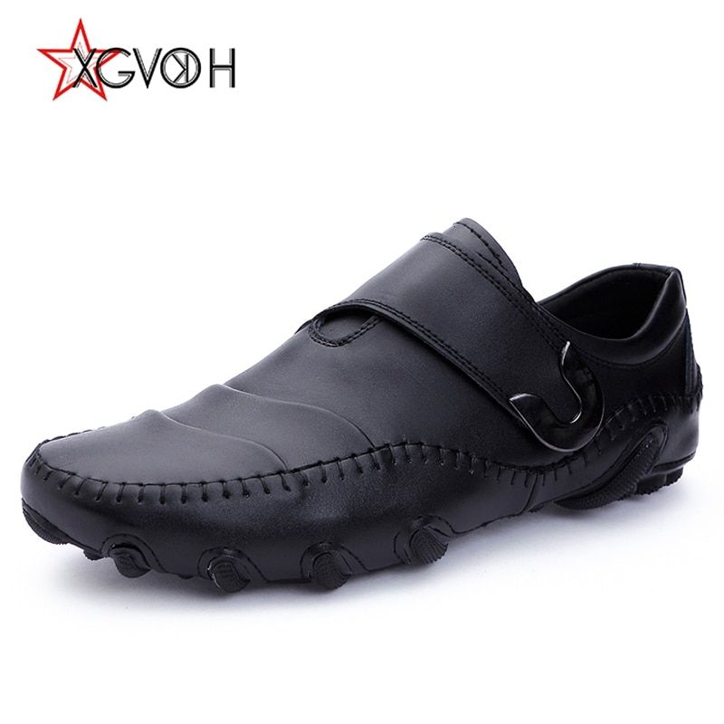 XGVOKH Casual Boat Shoes Men Genuine Cow leather Loafers octopus driving moccasins plus sizes 38-47 Hook & Loop Spring shoes