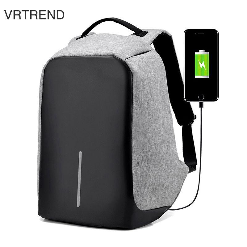 VRTREND USB Charge Anti Theft Backpack Men Travel Security Waterproof School Bags College Teenage Male 15inch Laptop Backpack