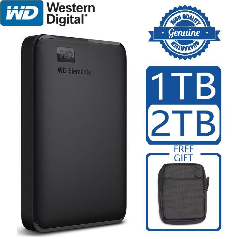 Disque dur externe Portable WD Elements HD 1 to 2 to haute capacité SATA USB 3.0 dispositif de stockage Original pour ordinateur Portable