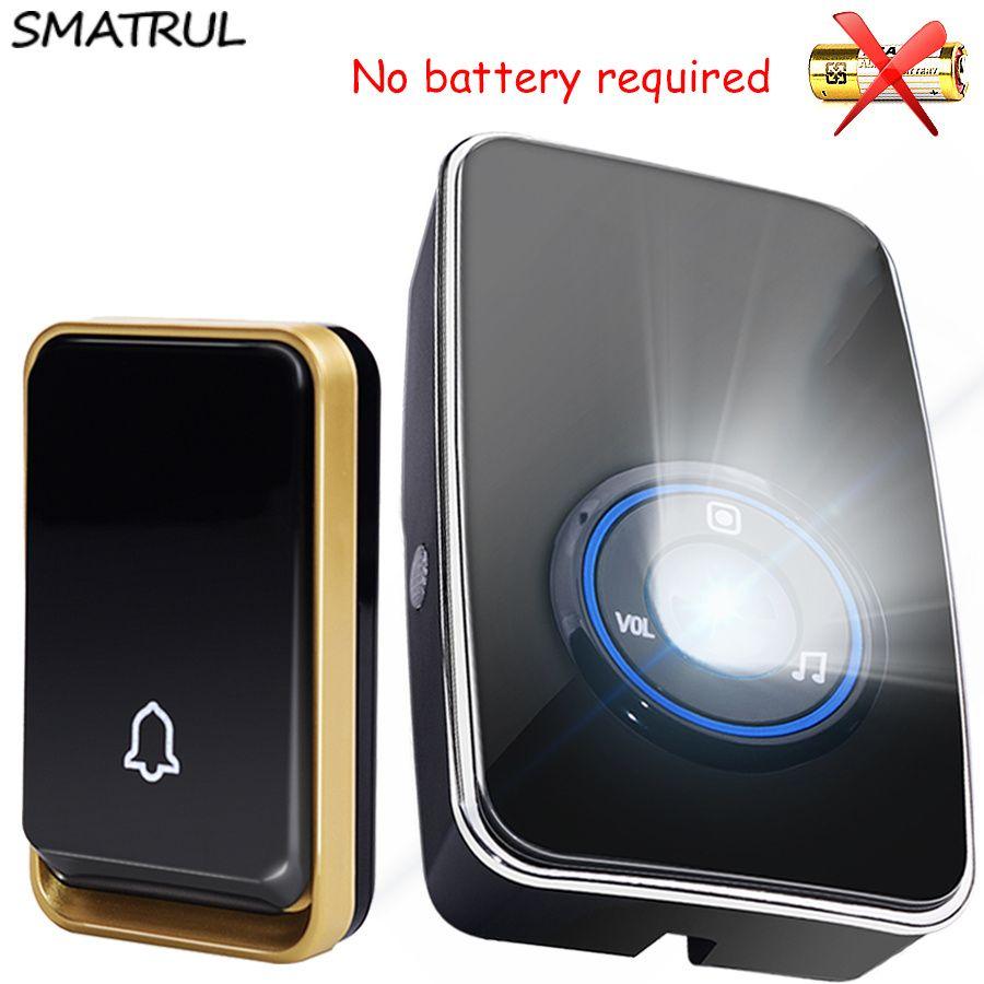 SMATRUL self powered Waterproof Wireless DoorBell night light <font><b>sensor</b></font> no battery EU plug smart Door Bell 1 2 button 1 2 Receiver
