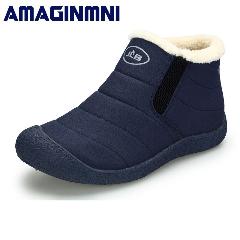 AMAGINMNI Winter Shoes Men Couple Unisex Snow Boots Warm Fur Inside Non-slip Bottom Keep Warm Casual Boots Men Waterproof Boots