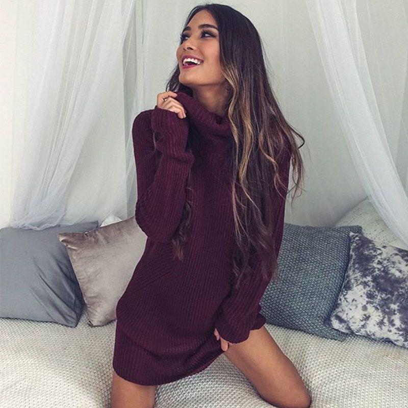NIBESSER 2017 Autumn Thin Turtleneck Long Sweater Pullover Women Long Sleeve Sweater Dress Femme Jumper Jersey Mujer Invierno