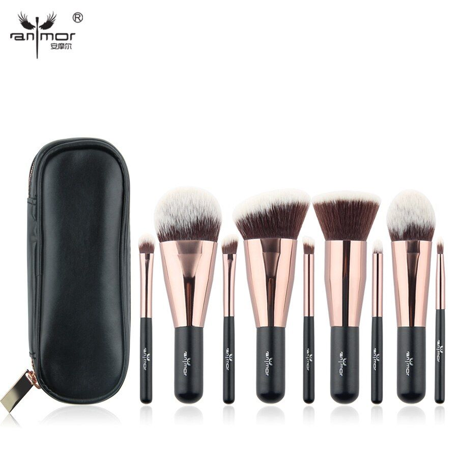 Anmor Belle Voyage 9 pcs Maquillage Brush Set Synthétique Mini Maquillage Brosses Avec Sac MBC03