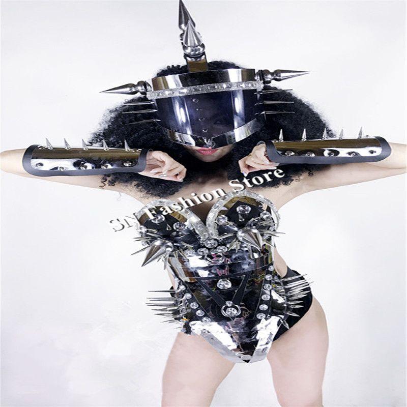 BC59 bühnenshow sexy rivet spiegel silber kleiden ballroom dance kleid bh bar party ktv helm roboter leistung trägt kostüm dj