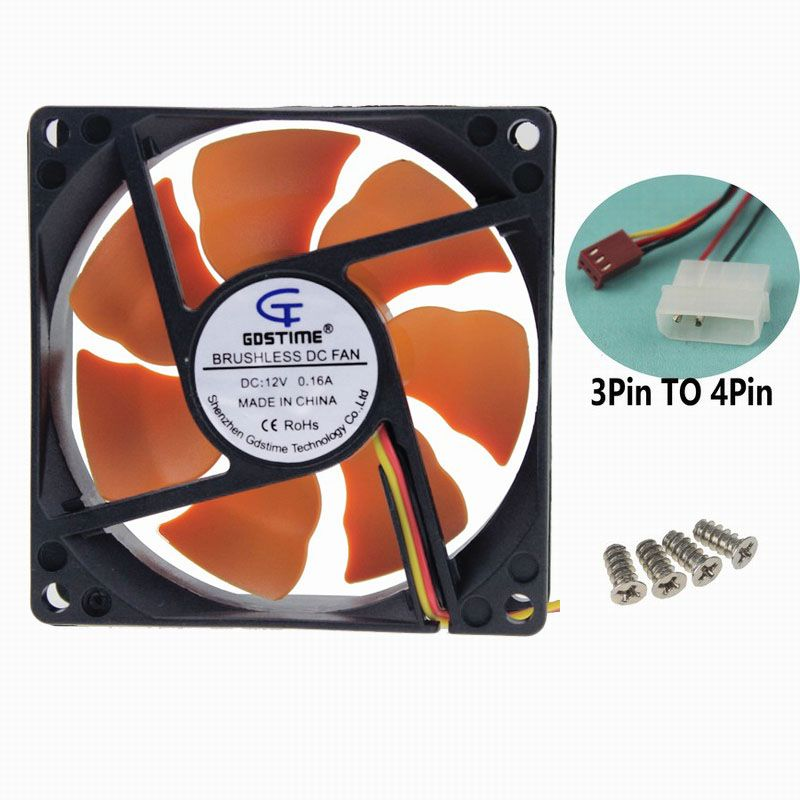 1piece Gdstime Ultra Quiet 2 Wire DC 12v 3 inche 80mm 80x80x25mm 8cm Wright Eagle Age Cooler For CPU Computer Chassis Case